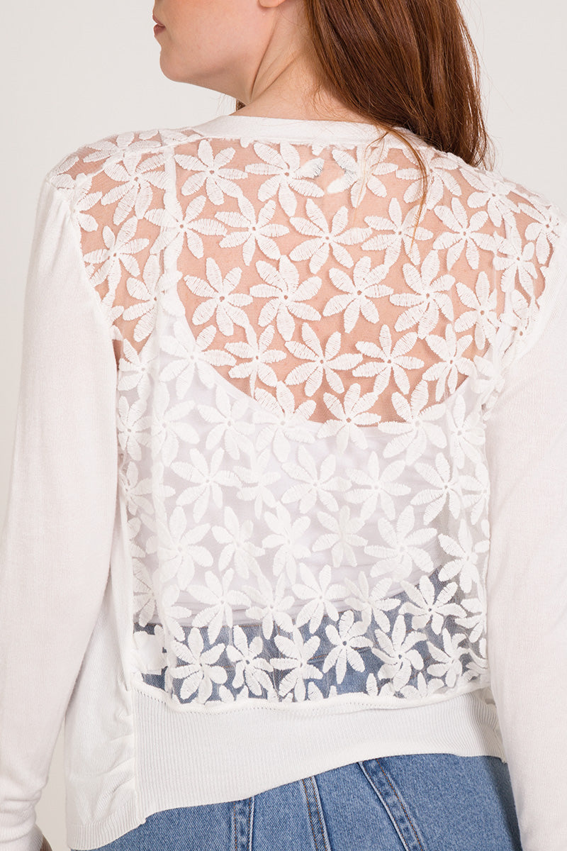 Floral Lace Back Cardigan