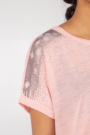 Fine Knit Slub Oversized Bling Shoulder Top