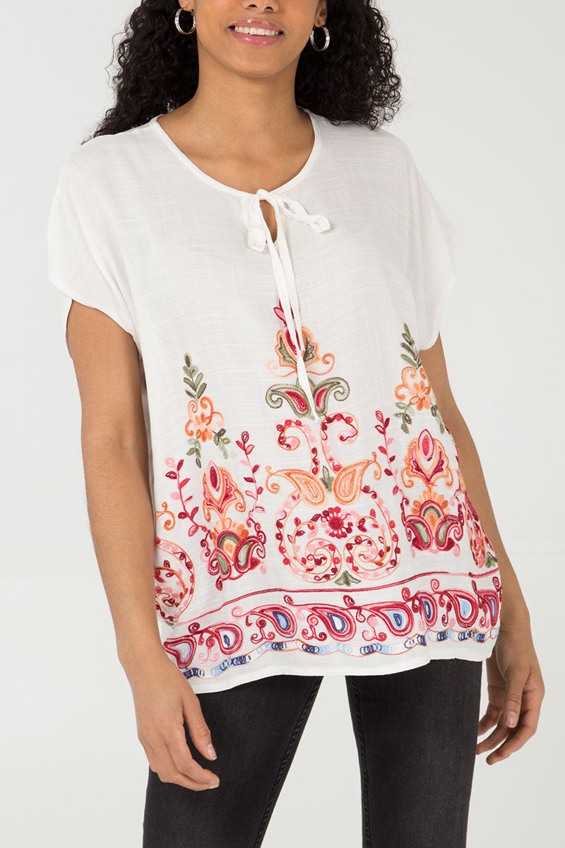 38148ca36702d Oversized Tie Neck Large Paisley Embroidered Top – Nova of London