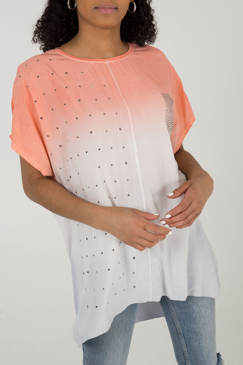 Studded Pocket Oversized Top