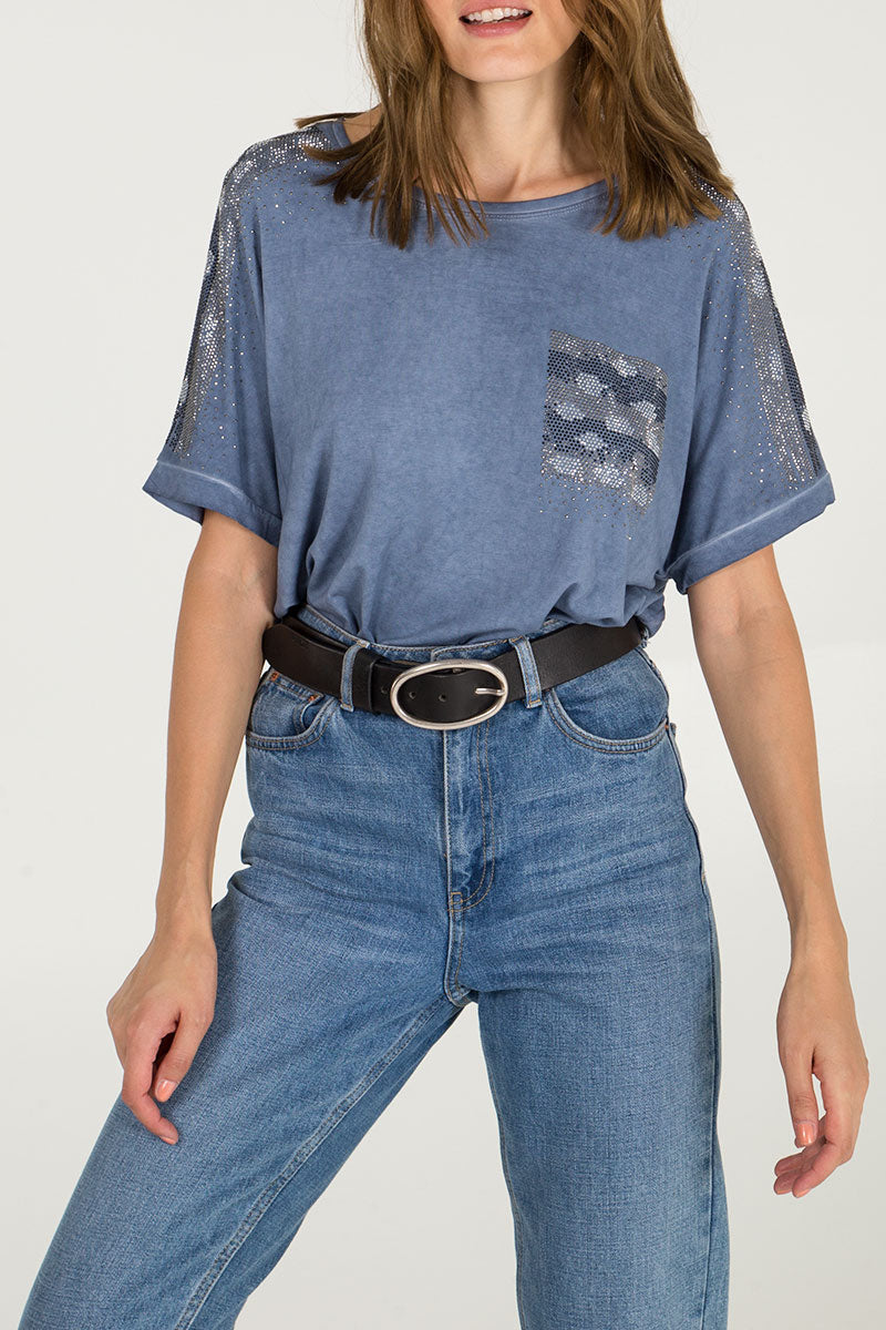 Diamante Pocket Detail Oversized T-Shirt