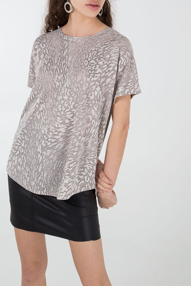 Abstract Animal Print Oversized T-Shirt