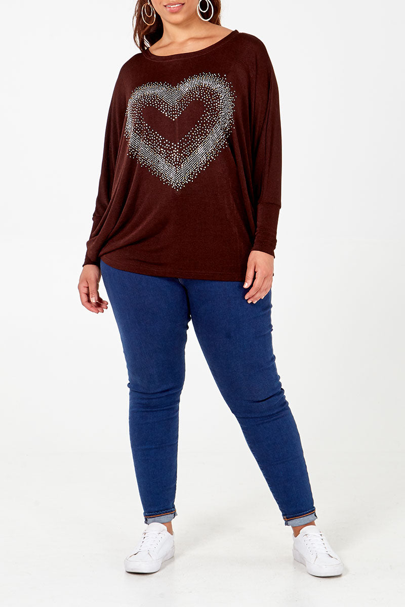 Curve - Diamante Heart Oversized Jumper