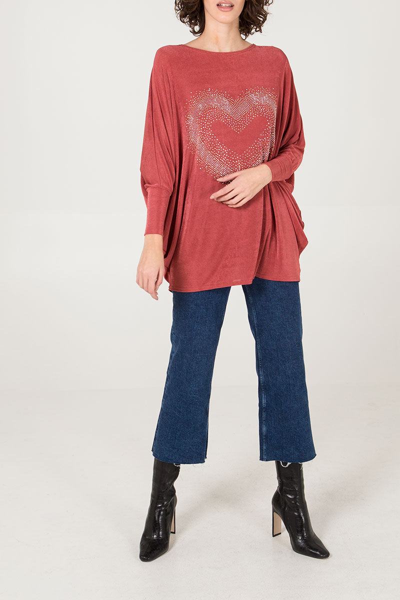 Diamante Heart Oversized Top