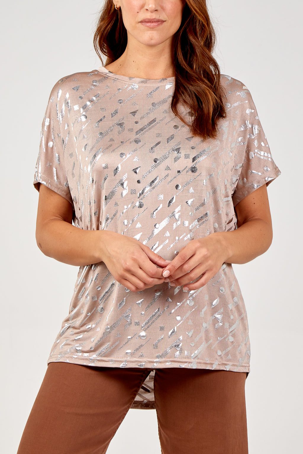 Foil Geometric Abstract Top