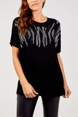 Abstract Diamante Animal Top