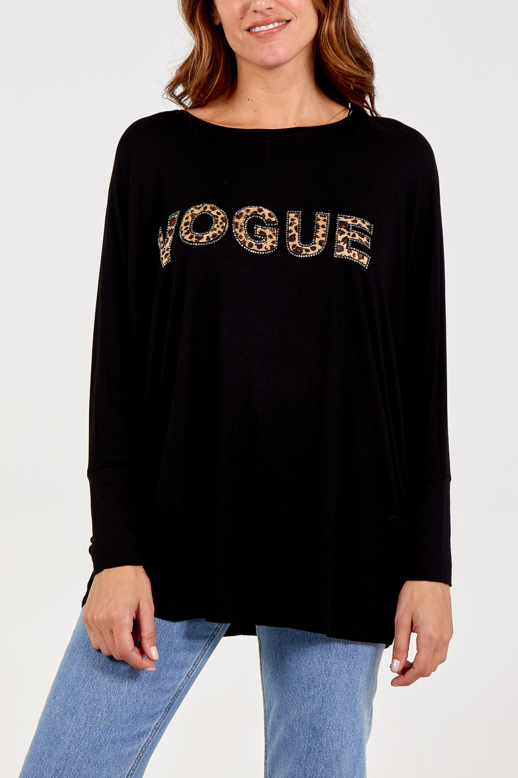 Oversized Leopard Vogue Diamante Top