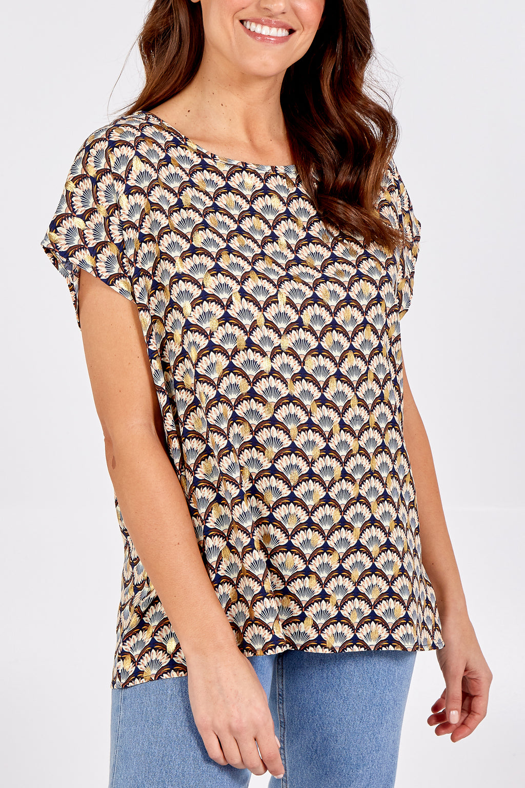 Printed Gold Foil Detail Tunic Top