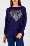 Oversized Batwing Top With Diamante Heart