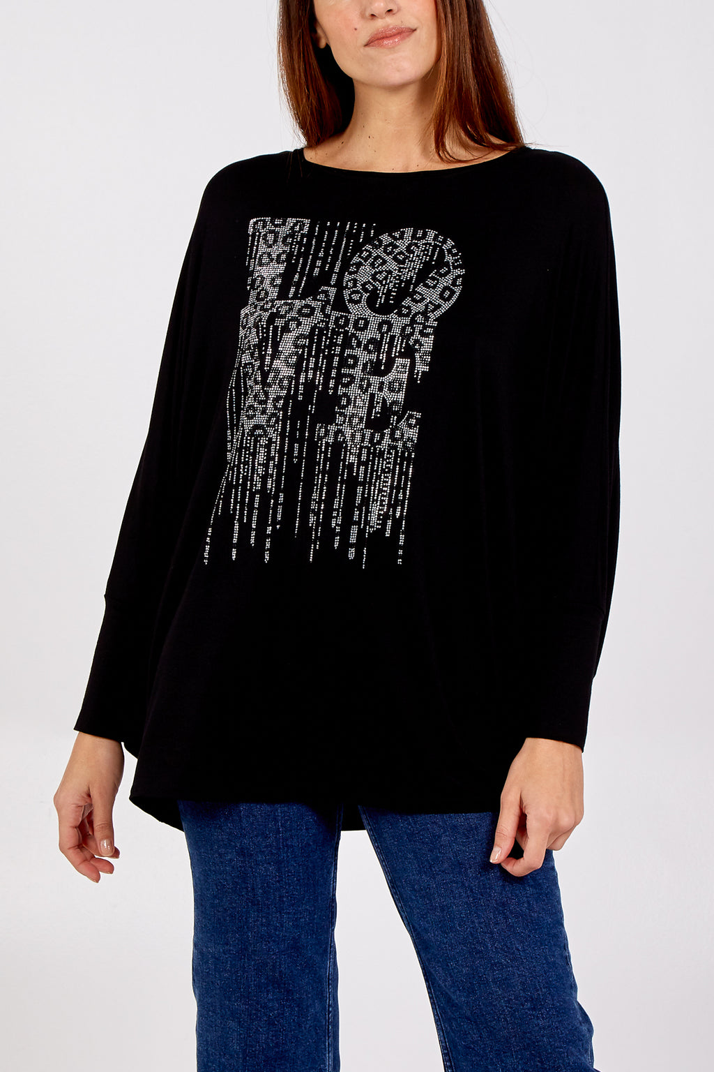 Oversized Batwing Top With Diamante Love Slogan