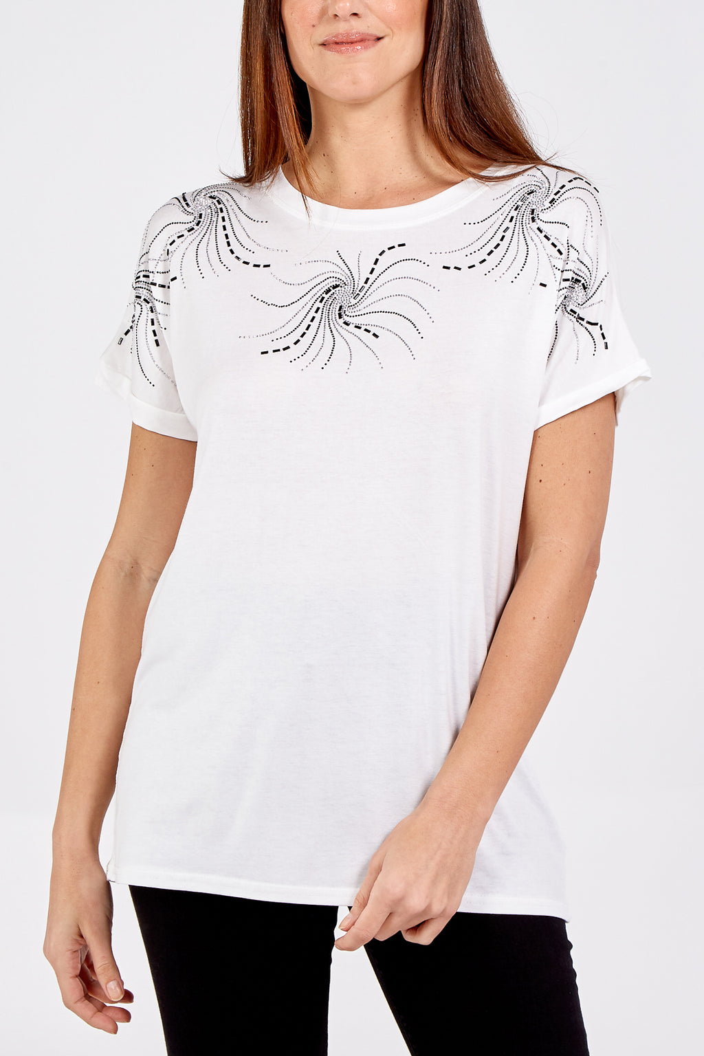 Embellished Swirl Neck T-Shirt