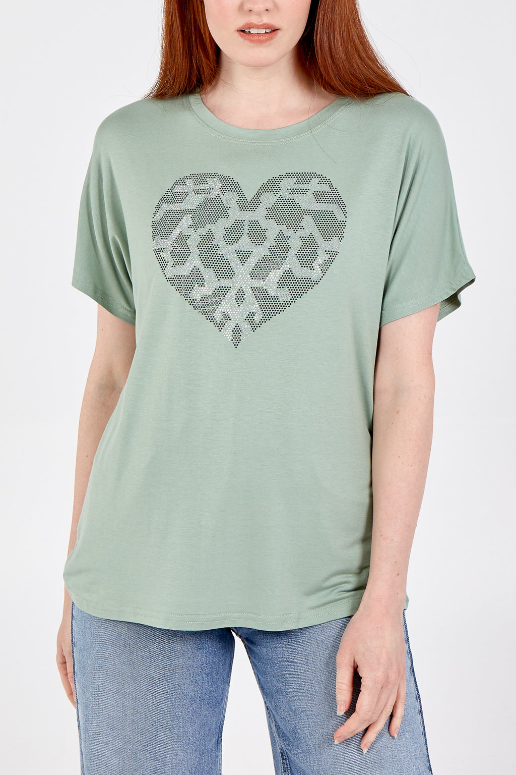 Diamante Pattern Heart T-Shirt