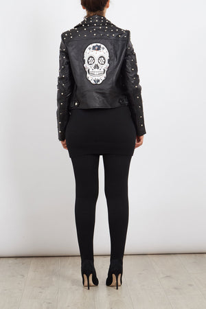 Studded Sleeve Biker Jacket