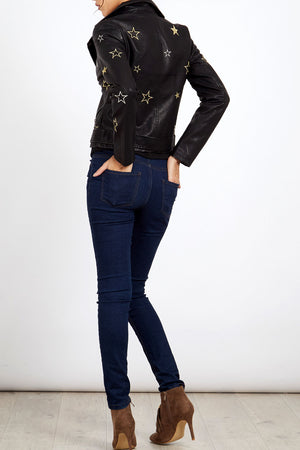 Star Embroidery PU Biker Jacket