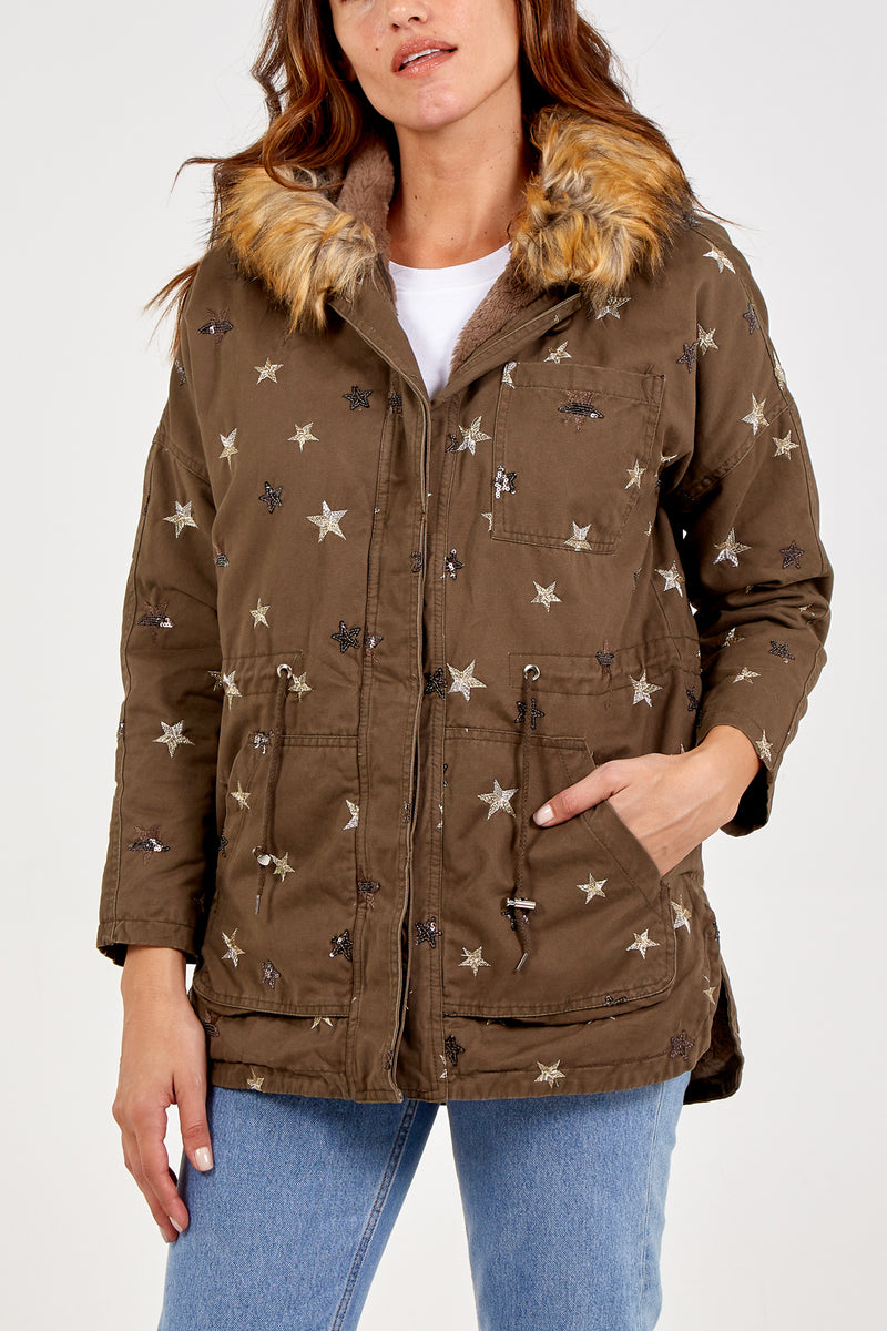 Star Embroidered Fur Lined Parka