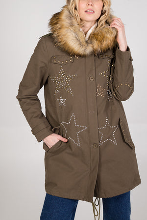 2 In 1 Detachable Fur Lined Star Studded Parka