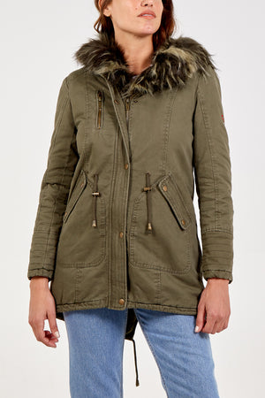 Fur Lined Embroidery Parka Coat