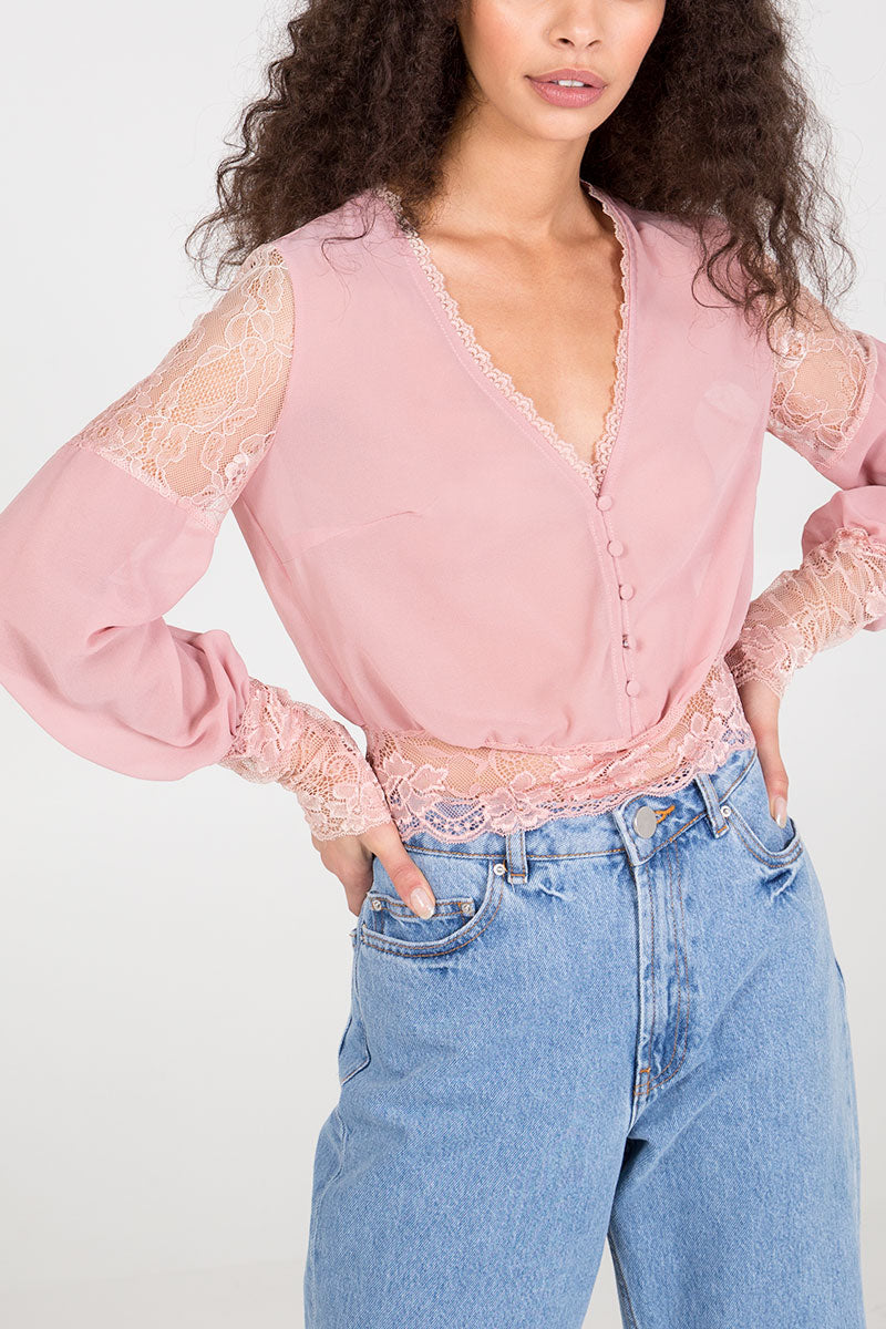 Cropped Lace Trim Blouse