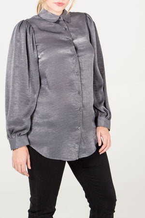 Pleated Bell Sleeve Satin Shirt
