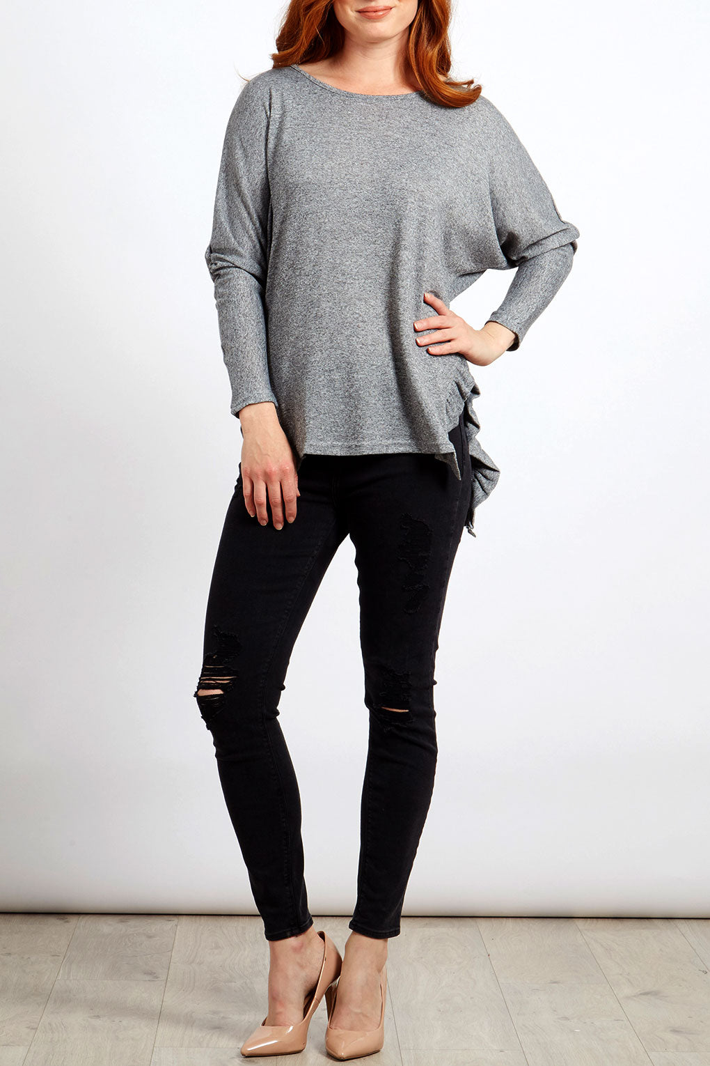 Batwing Top With Frill Side Seam