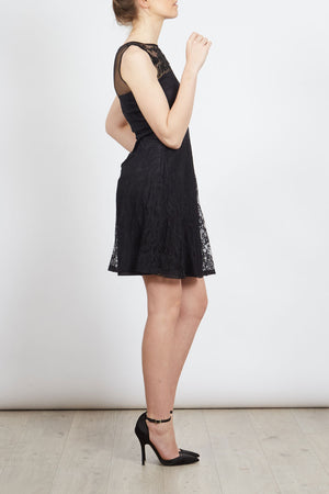 Embroidered Yoke Lace Skater Dress
