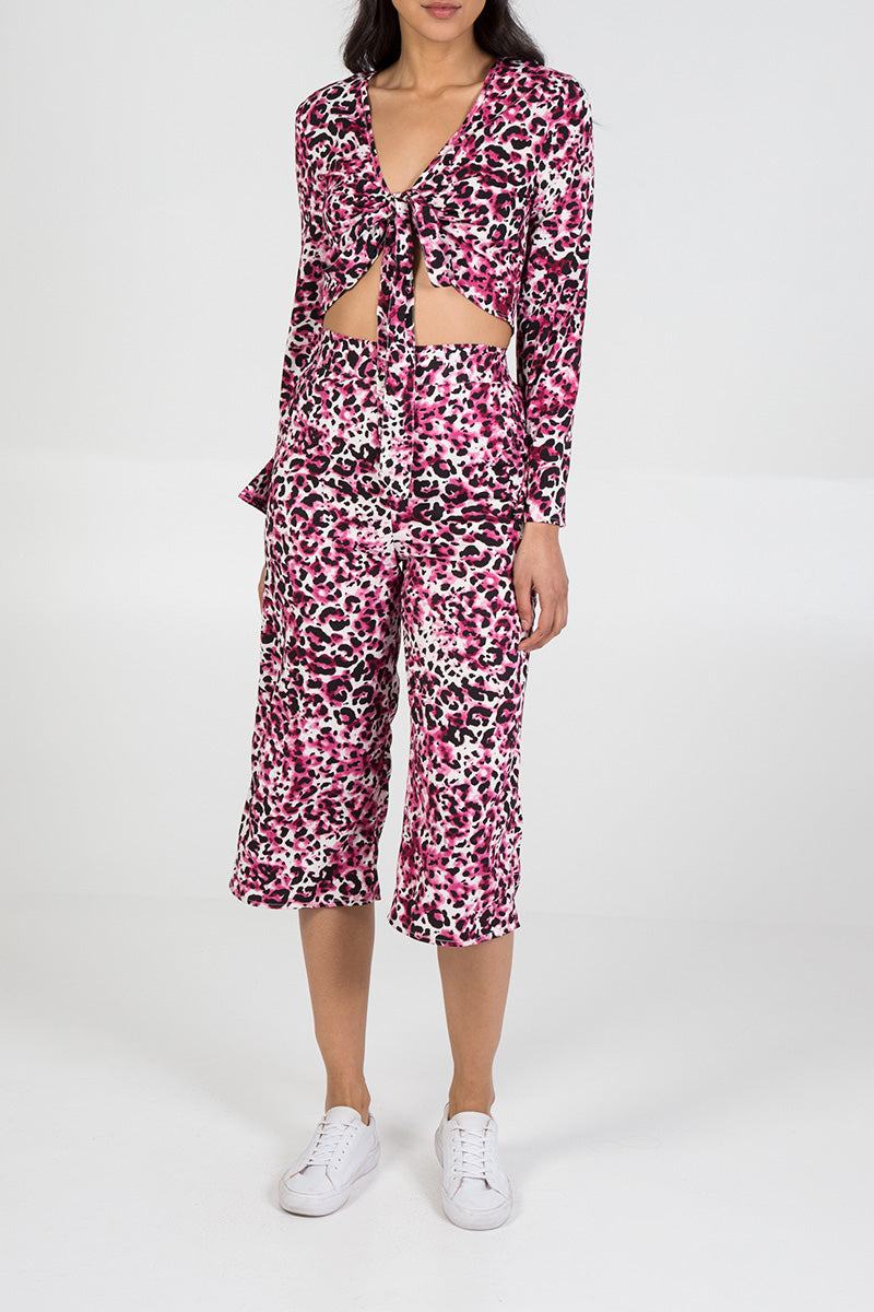 Leopard Tie Top And Culotte Co-Ord Set