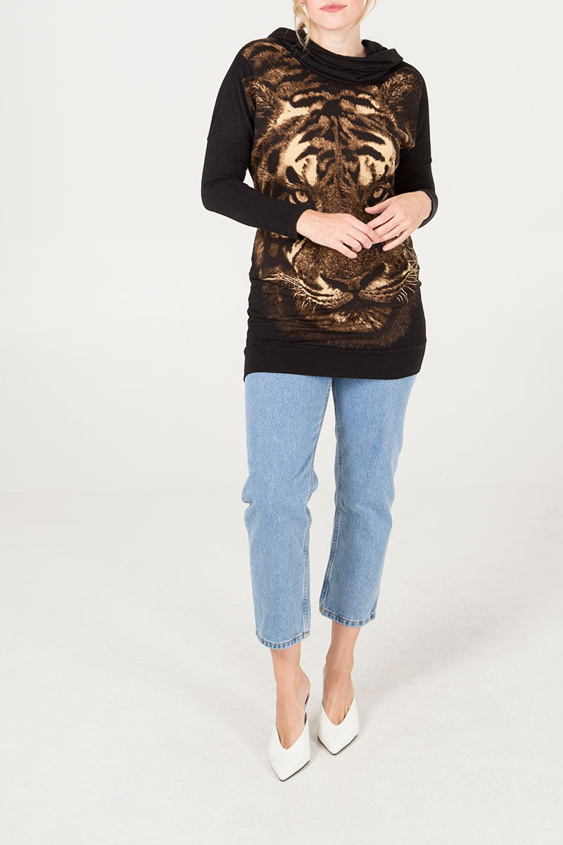 Cowl Neck Tiger L/S Tunic
