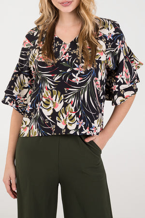Frill Sleeve Bar Back Top
