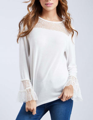 Pearl Trim Tiered Lace Sleeve Top