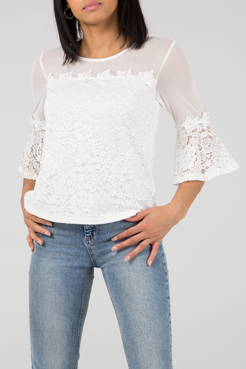 Bell Sleeve Lace Flower Trim Top