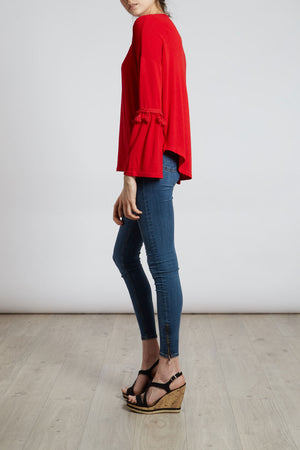 Drop Shoulder Top With Tassel Trim