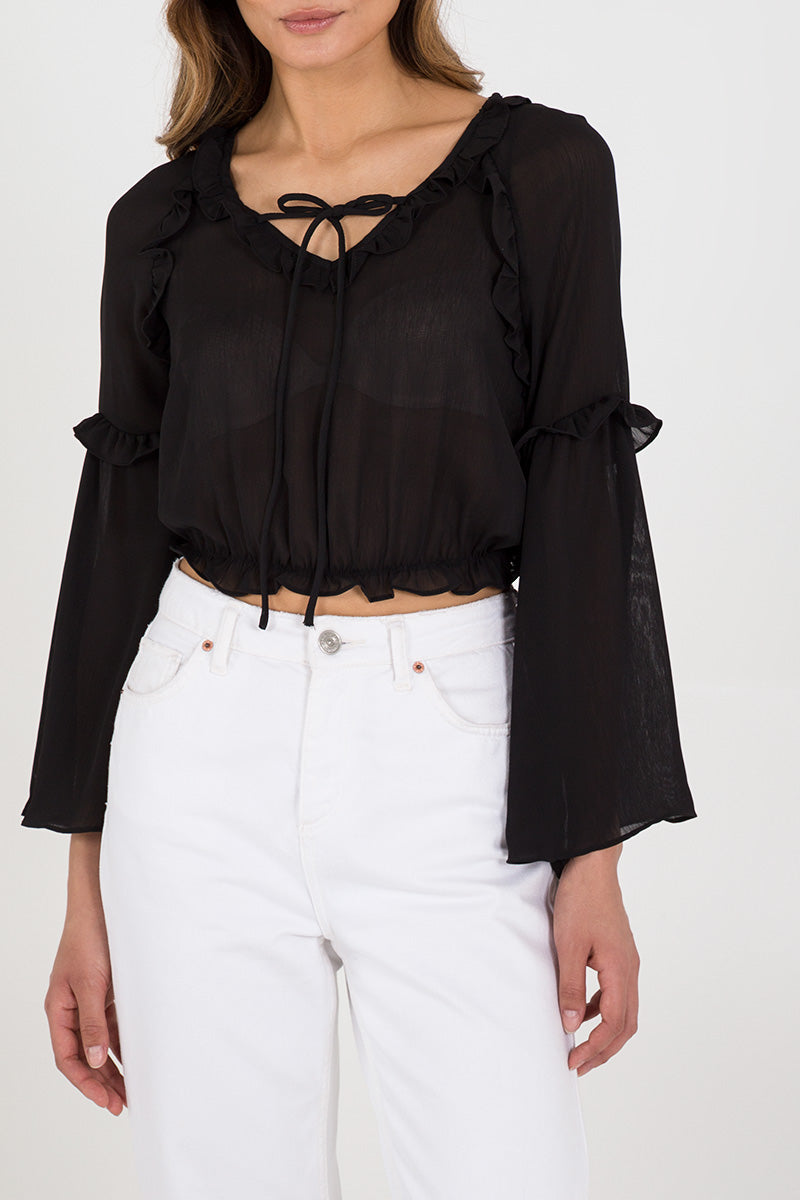 Frill Detail Cropped Blouse