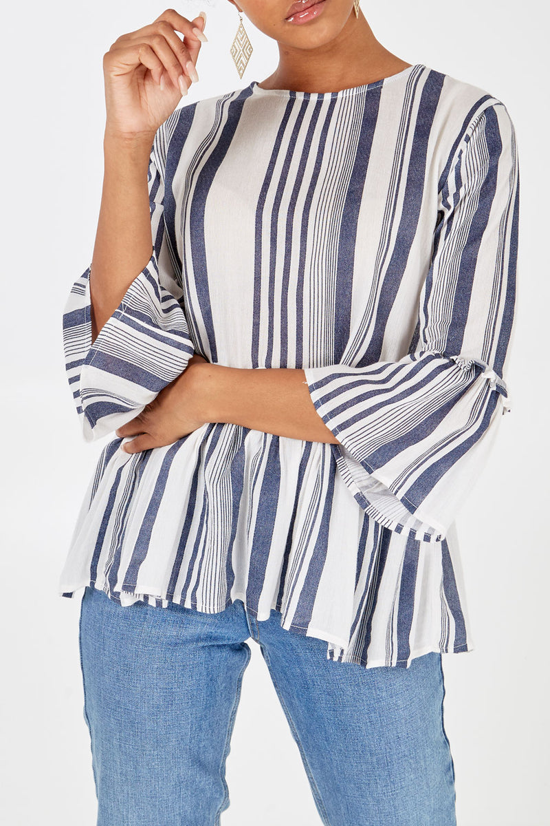 Peplum Frill Stripe Top