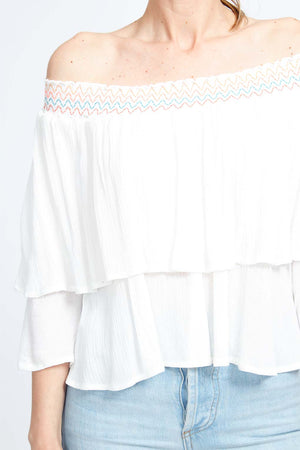 Embroidered Layer Bardot Top
