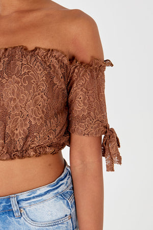Lace Bardot Crop Top With Tie Sleeves