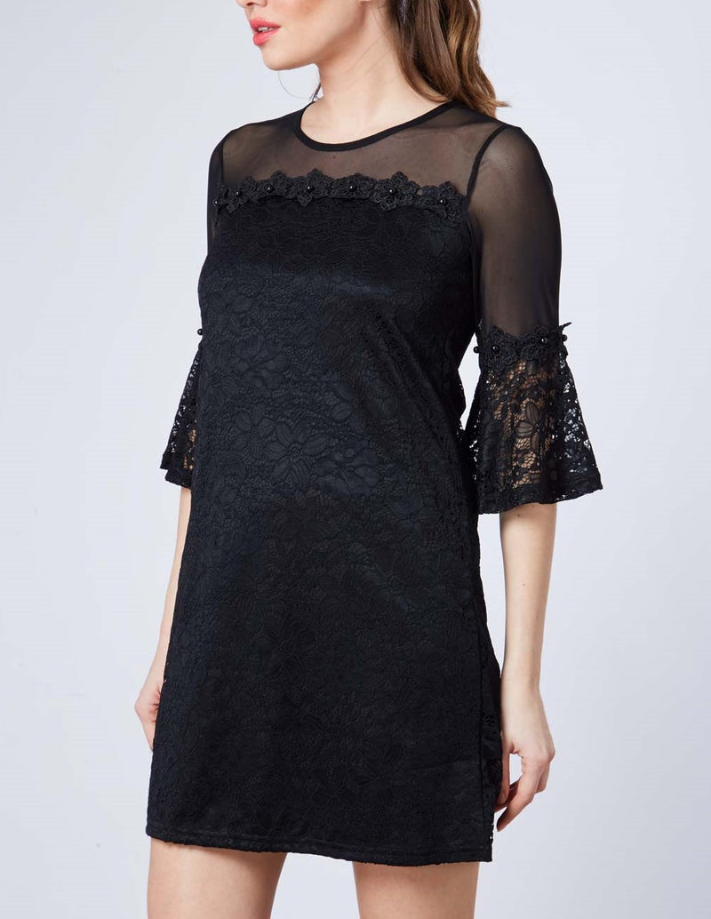 Bell Sleeve Lace Flower Trim Dress
