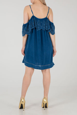 Cold Shoulder Brodarie Trim Tunic