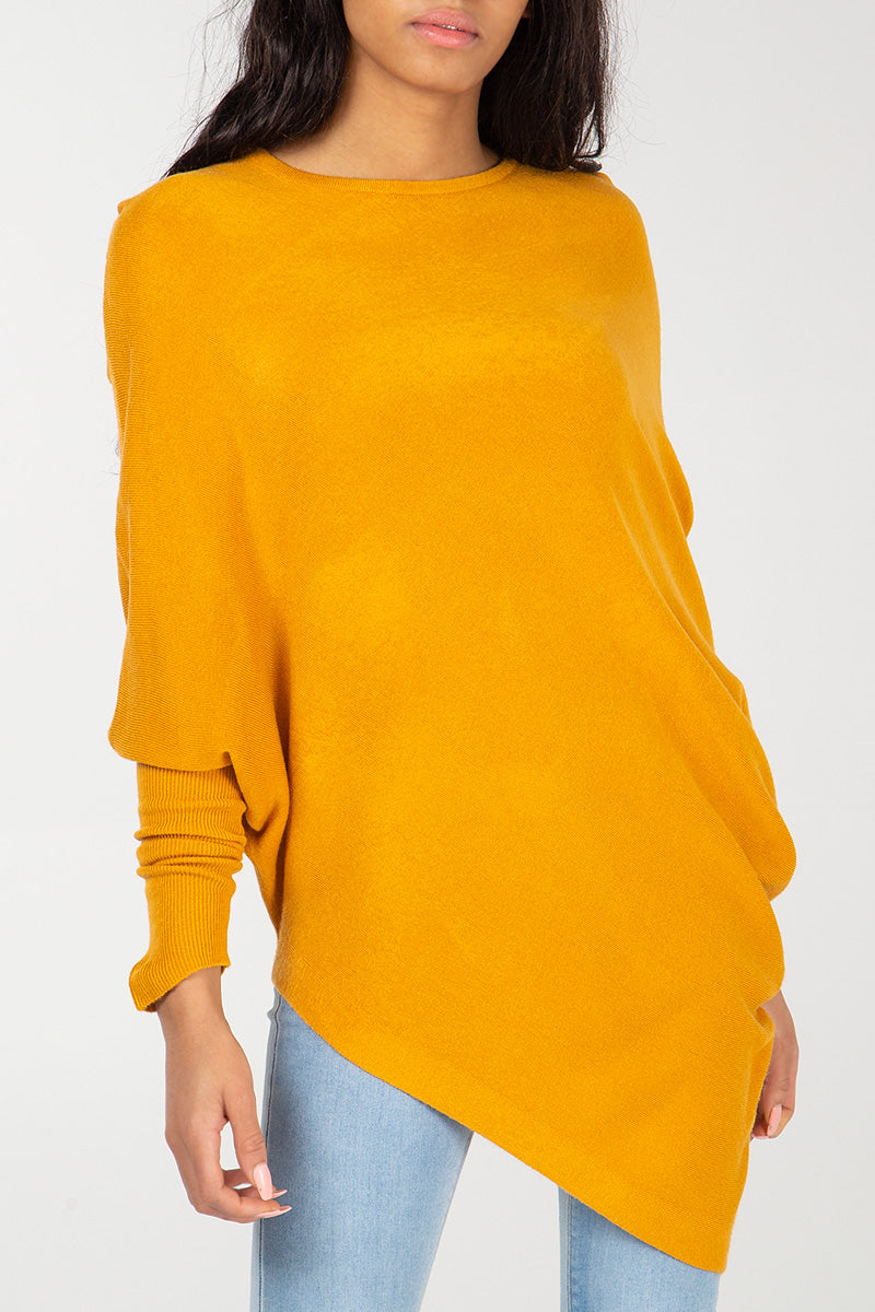 Cashmere Like Asymmetric Batwing Top