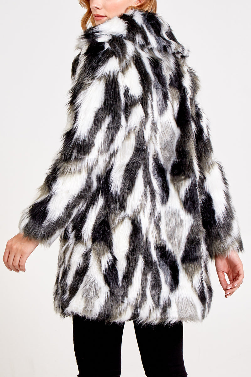 Abstract Faux Fur Coat
