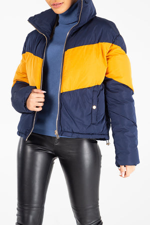 Chevron Colour Block Puffer