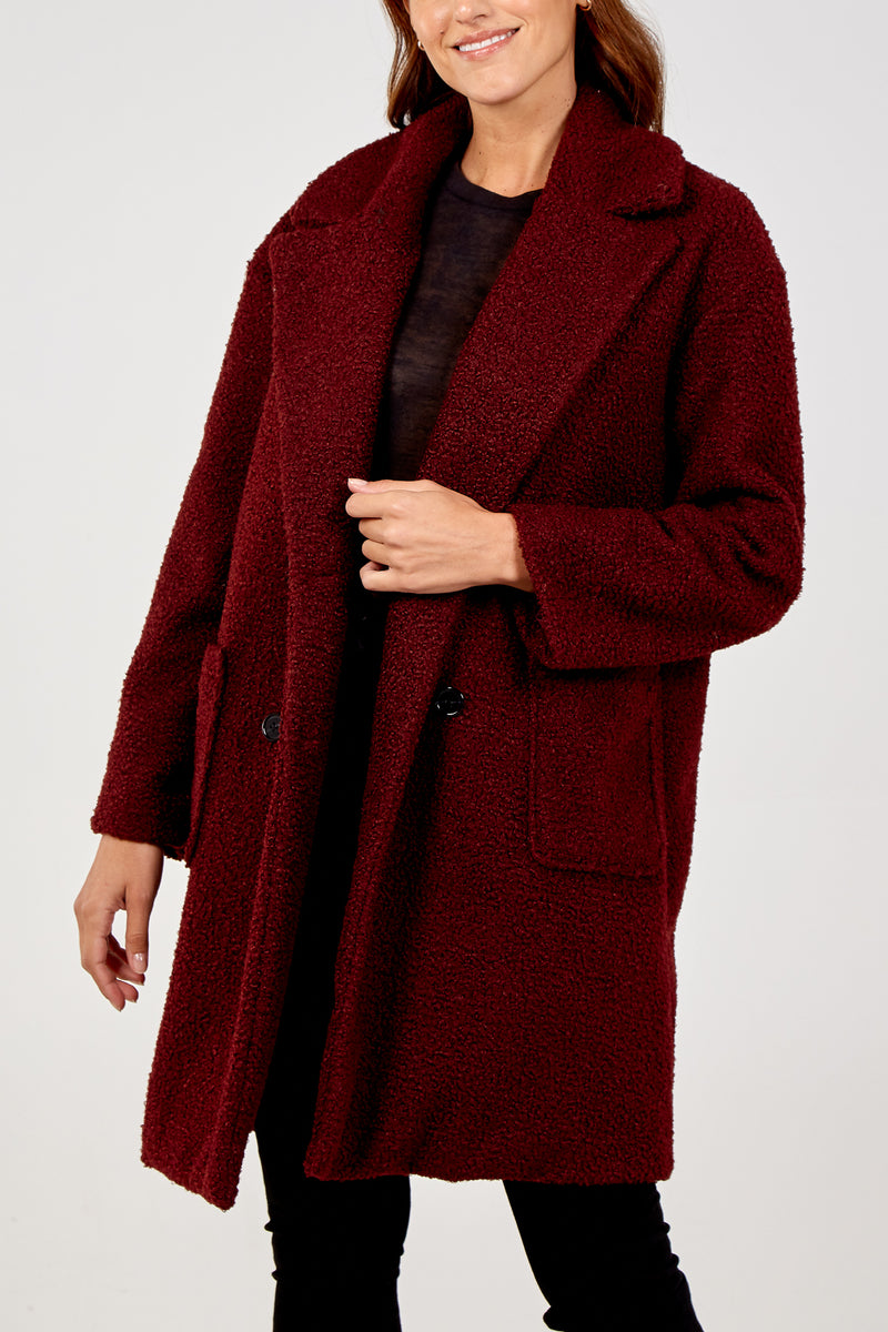 Double Breasted Cocoon Coat With Patch Pockets