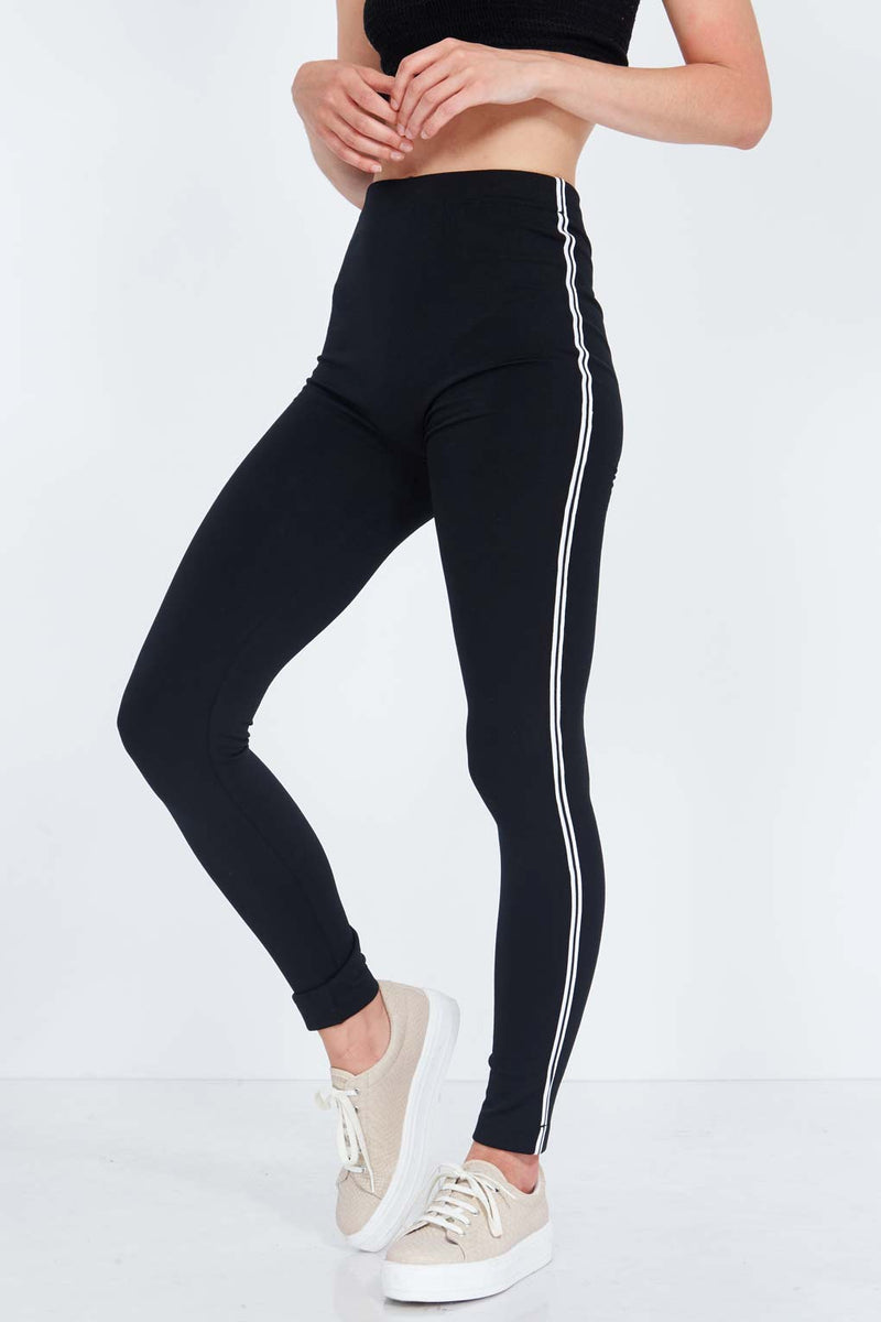 Basic Leggings With Black And White Piping