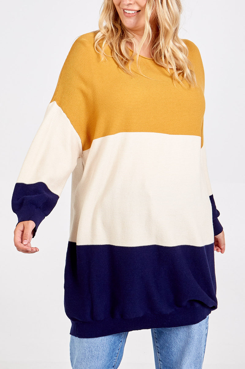 Textured Oversize Colour Block Jumper