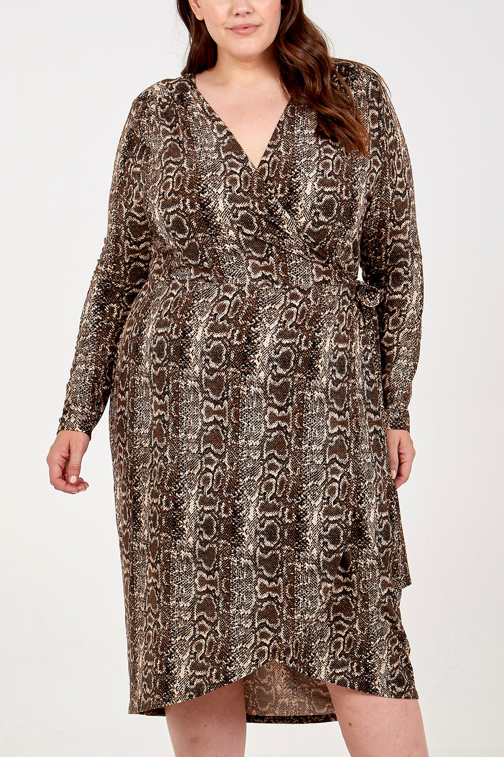 Curve - Snake Print Wrap Dip Back Midi Dress