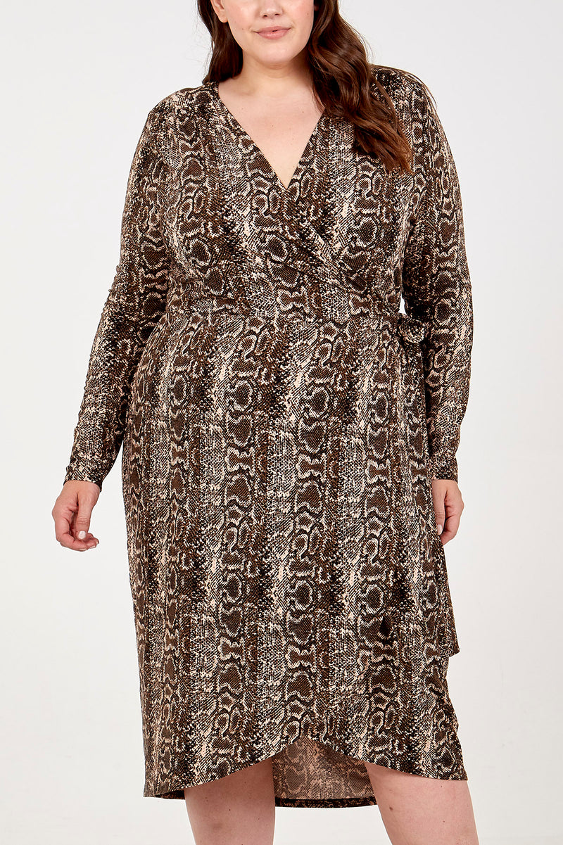 Snake Print Wrap Dip Back Midi Dress