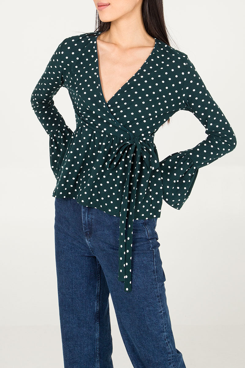 Wrap Front Polka Dot Frill Sleeve Blouse