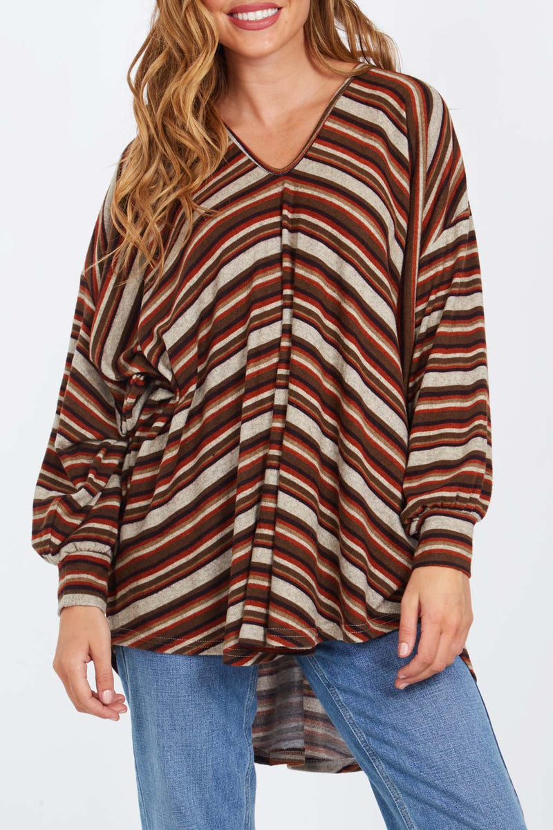 Stripe V Neck Oversize Tunic Top