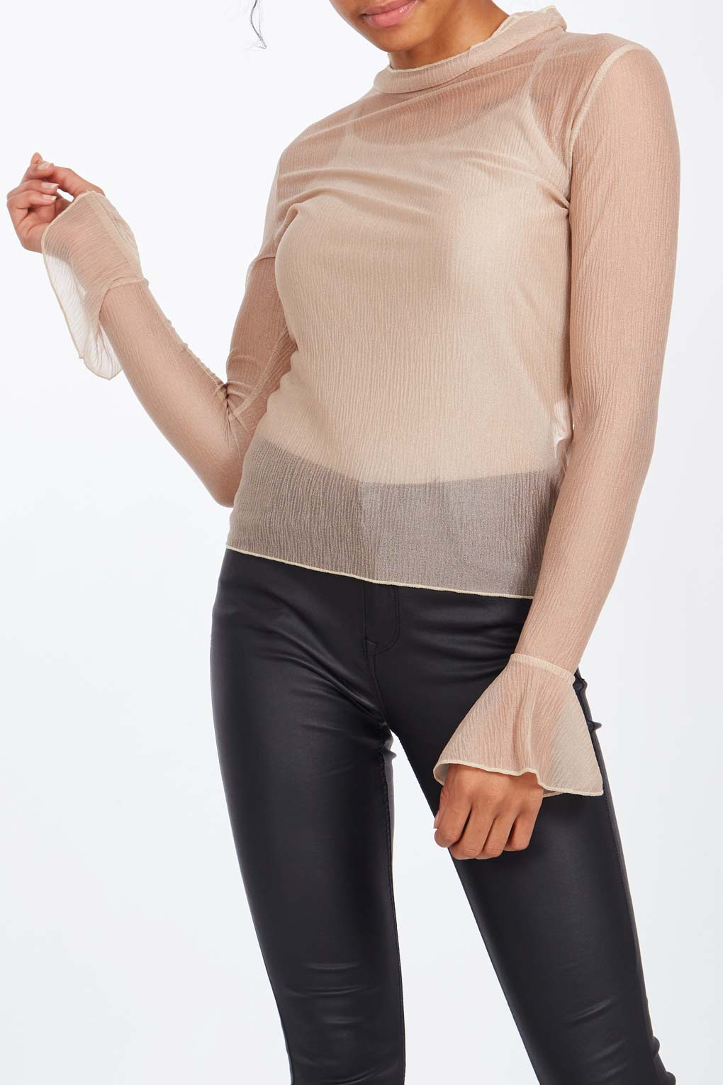 Crinkle Frill Sleeve Top