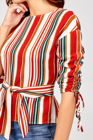 Ruched Sleeve Sash Belt Top