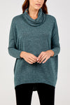 Space Dye Melange Cowl Neck Top